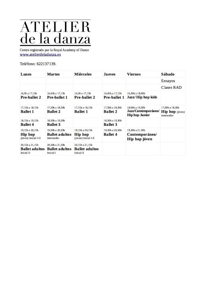 horarios Ateliernew
