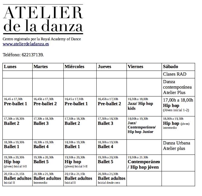 Horarios Atelier 2019:20